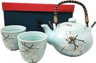Japanese Design Sky Blue Cherry Blossom Sakura Tea Pot and Cups Set Serves 2 Excellent Home Decor Asian Living
