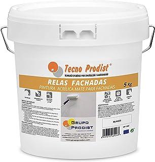 RELAS FACHADAS de Tecno Prodist - 5 Kg (BLANCO) Pintura Acrílica Blanco Mate Impermeabilizante para Fachadas - A Rodillo o brocha - Pintura de Calidad - Fácil Aplicación