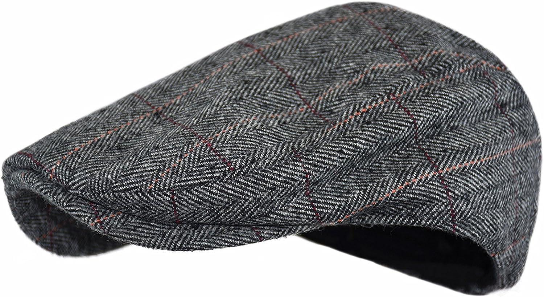 1930s Style Mens Hats and Caps Wonderful Fashion Mens Classic Herringbone Tweed Wool Blend Newsboy Ivy Hat (Large/X-Large Charcoal)  AT vintagedancer.com