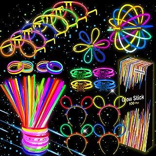 Kimimara Braccialetti Luminosi, Starlight Fluorescenti,100 Glowsticks Party con 122 Connettori per Creare Bracciali e Cion...