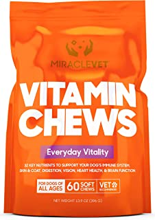 Miracle Vet Multivitamin Treats for Dogs - Turmeric & Taurine for Immune Support + Digestive Enzymes & Probiotics - 32 Powerful Ingredients - Dog Vitamin for Skin & Coat + Heart Health - for All Ages