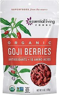 Essential Living Foods Organic Dried Goji Berries 6 ounce - Vegan, Non-GMO, Gluten Free, Resealable Bag