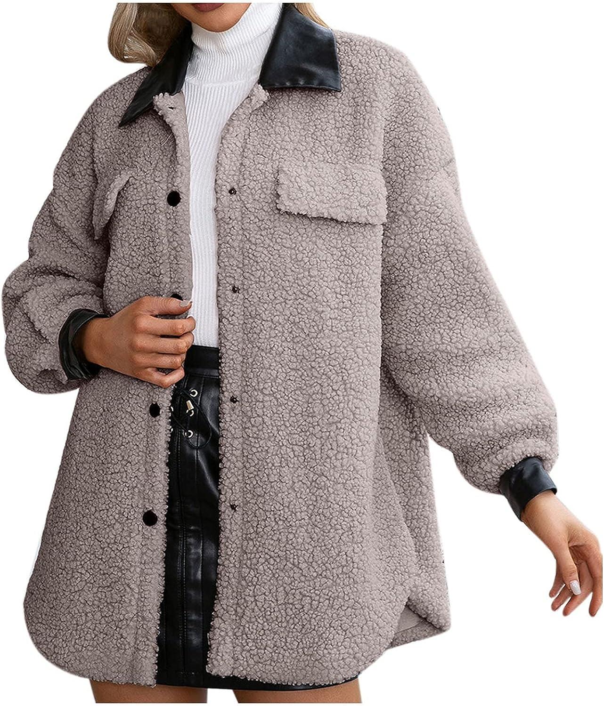 Rovga Womens Solid Faux Shearling Coat Warm Lapel Coat Winter Sherpa Open Front Button Long Jacket