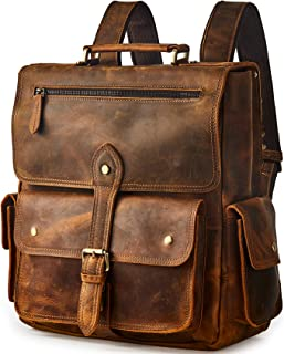 BRASS TACKS Leathercraft Men's Convertible Genuine Leather Briefcase Backpack with Single-Buckle Closure