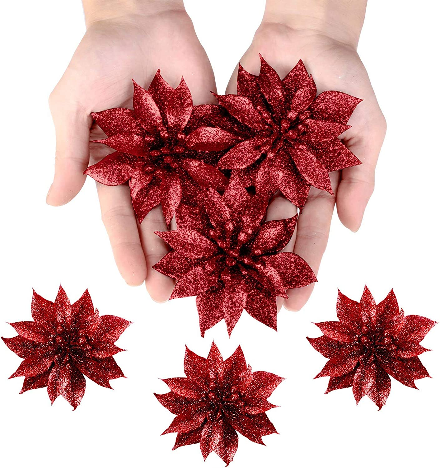 36 Pieces Christmas Glitter Poinsettia Flowers Decorative Artificial Flowers for Christmas Wreath Christmas Tree Ornaments Blue