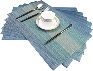 Bright Dream Placemats Washable Easy to Clean PVC Placemat for Kitchen Table Heat-resistand Woven Vinyl Hard Table Mats 12x18 inches Set of 6 (Blue)