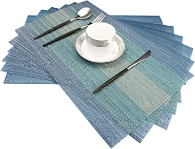 Bright Dream Placemats Washable Easy to Clean PVC Placemat for Kitchen Table Heat-resistand Woven Vinyl Hard Table Mats 12x18