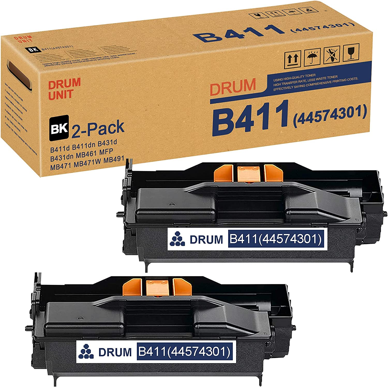 (Black,2 Pack) B411 44574301 Drum Unit Replacement for OKI B411d B411dn B431d B431dn MB461 MFP MB471 MB471W MB491 Drum Kit Printer
