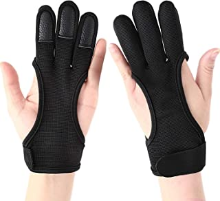 Three Finger Recurve Bow Archery Glove Lightweight Compact Leather Bow Protective Shooting Gloves for Left or Right Hand, Black