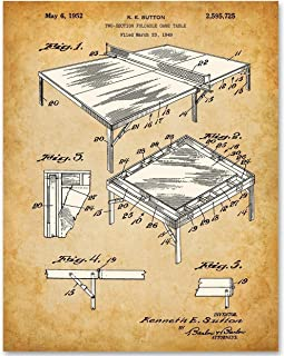 Ping Pong Table Tennis - 11x14 Unframed Patent Print - Makes a Great Gift Under $15 for Game Room