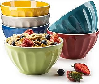 KooK Ceramic Bowls, Assorted Colors, Great for Cereal, Fruit, Dessert, Set of 6, 22oz capacity