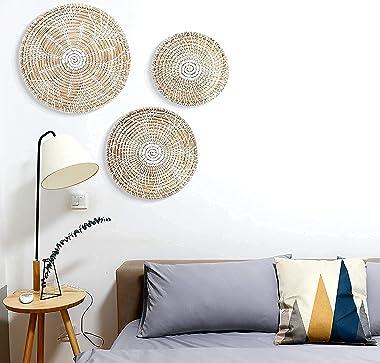 Hanging Woven Wall Basket Decor Set of 3 | Seagrass Baskets Wall Decor | Perfect For Natural Boho Home Decor | Handmade Decor