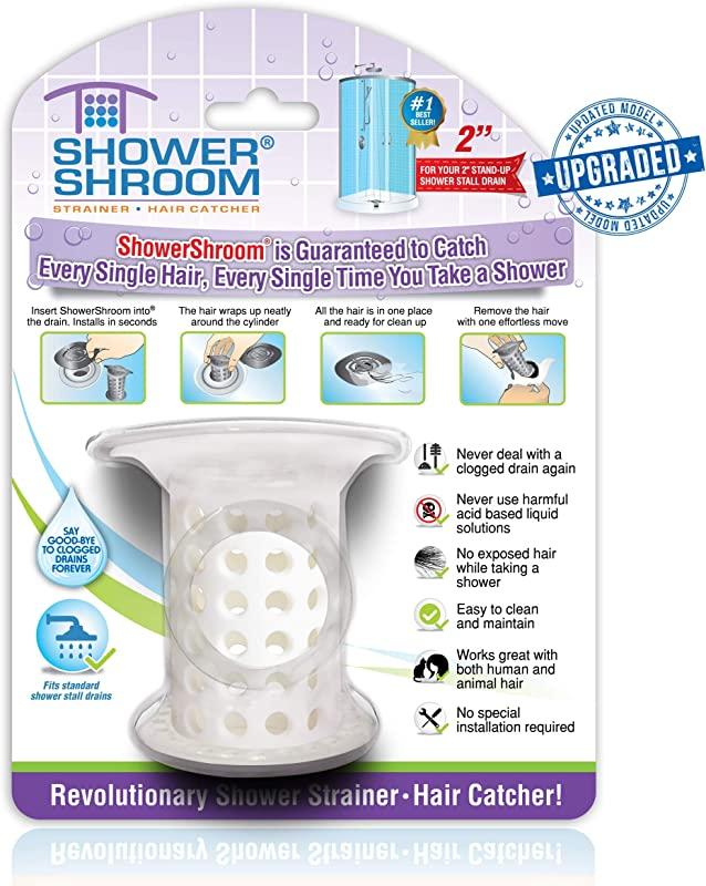 ShowerShroom Revolutionary 2 Stand Up Shower Stall Drain Protector Hair Catcher Strainer 2 White