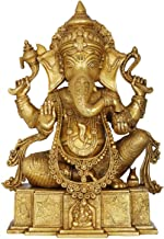 Blessing Lord Ganesha on OM Shri Base - Brass Statue