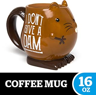 "BigMouth Inc. Eager Beaver Mug – Hilarious 16 oz Ceramic Coffee Cup with Beaver Face – Reads ""I Don't Give a Dam,"" Perfect for Use at Home or Office, Makes a Great Gift Idea"