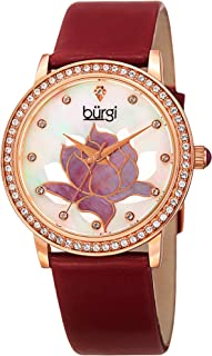 Swarovski Crystal Encrusted Women's Watch with Genuine Leather Strap –Mother of Pearl Dial with Mosaic Lotus Flower Design and Crystal Marker Accents -BUR159