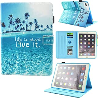 iPad Air 2 Case, iPad Air Case, iPad 9.7 2017/2018 Case, Dluggs PU Leather Folio Smart Cover with Auto Sleep/Wake Function for Apple 9.7 Inch Tablet iPad 6th / 5th Gen, iPad Air 1/2, 01 Beach