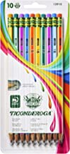 Ticonderoga X13910 Striped Wood-Cased Pencils, 2 HB Soft, Pre-Sharpened, 10 Count, Assorted Colors