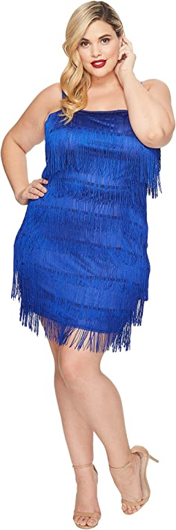 Unique Vintage - Plus Size Speakeasy Tiered Fringe Flapper Dress