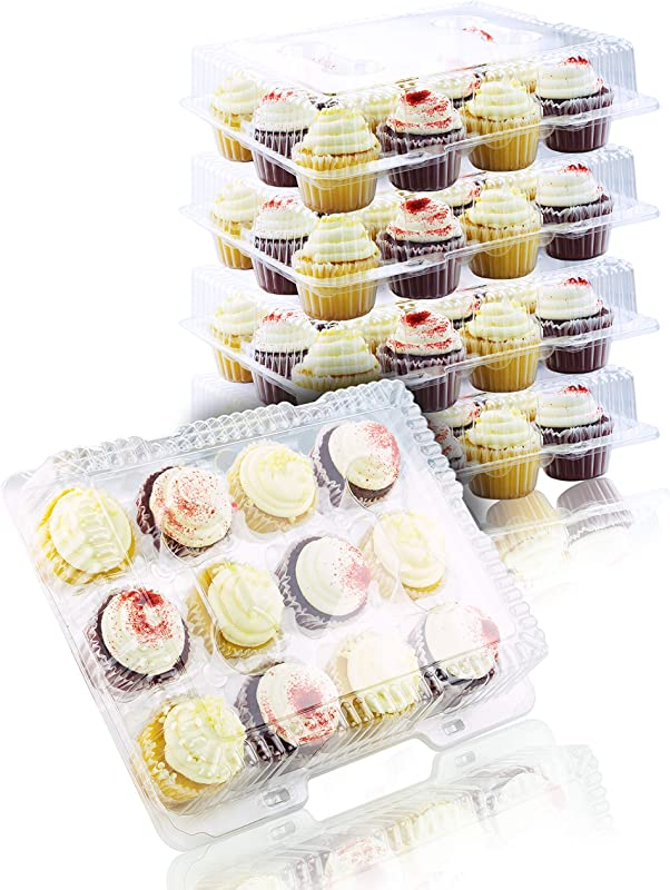 Chefible 12 Plastic Disposable Cupcake Container Takeout Container Cupcake Carrier Set Of 4