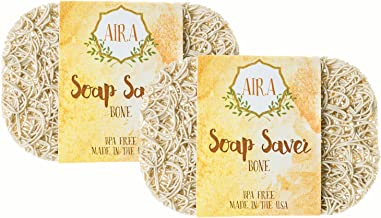 Aira Soap Saver - Soap Dish & Soap Holder Accessory - BPA Free Shower & Bath Soap Holder - Drains Water, Circulates Air, Extends Soap Life - Easy to Clean, Fits All Soap Dish Sets - Bone Double Pack