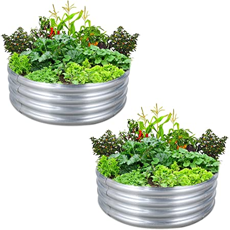 FORTUNO Round Galvanized Raised Garden Bed Box 3 FT (2 Pack) Metal Outdoor Flower Bed Steel Patio Ground Planter for Planting Vegetables and Herb, Silver