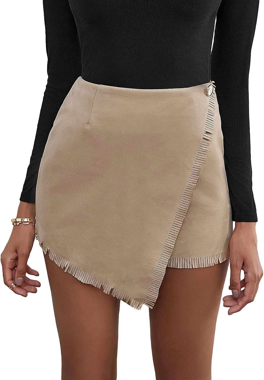 Floerns Women's Fringe Trim Wrap Front High Waist Asymmetrical Hem Mini Skirt
