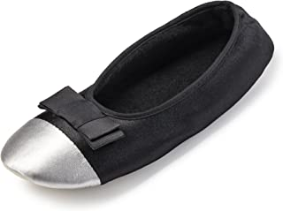 Super Cute Satin Ballet Flat Slippers for Women w/Cotton Terry Lining- Comfy Ballerina House Shoes