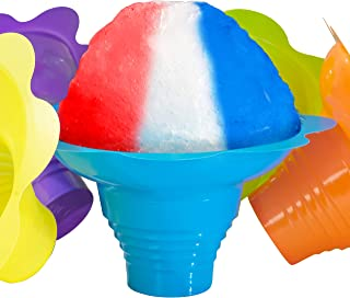 Super Cute Flower Cups 10 Pack. Colorful, Leak Proof Small Bowls Are Perfect Snow Cone Supply for Kids Birthday Party or Summer Cookout. Easy Grip, Reusable Bowl For Shaved Ice, Snacks or Ice Cream
