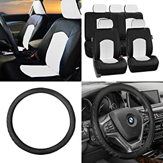 FH Group ON Sale:FH GROUP FH-PU008115 Perforated Leatherette Car Seat Covers, White/Black Color FH2006 Microfiber Embossed Leather Black Steering Wheel Cover- Fit Most Car, Truck, SUV, or Van