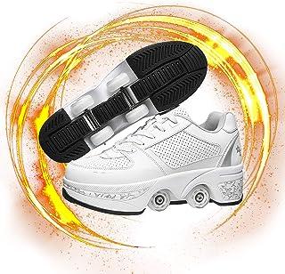 Hmlopx Deformation rullskridskor för flickor/kvinnor 2-i-1 multifunktionella skor hjul skor rullskor skor unisex nybörjare...