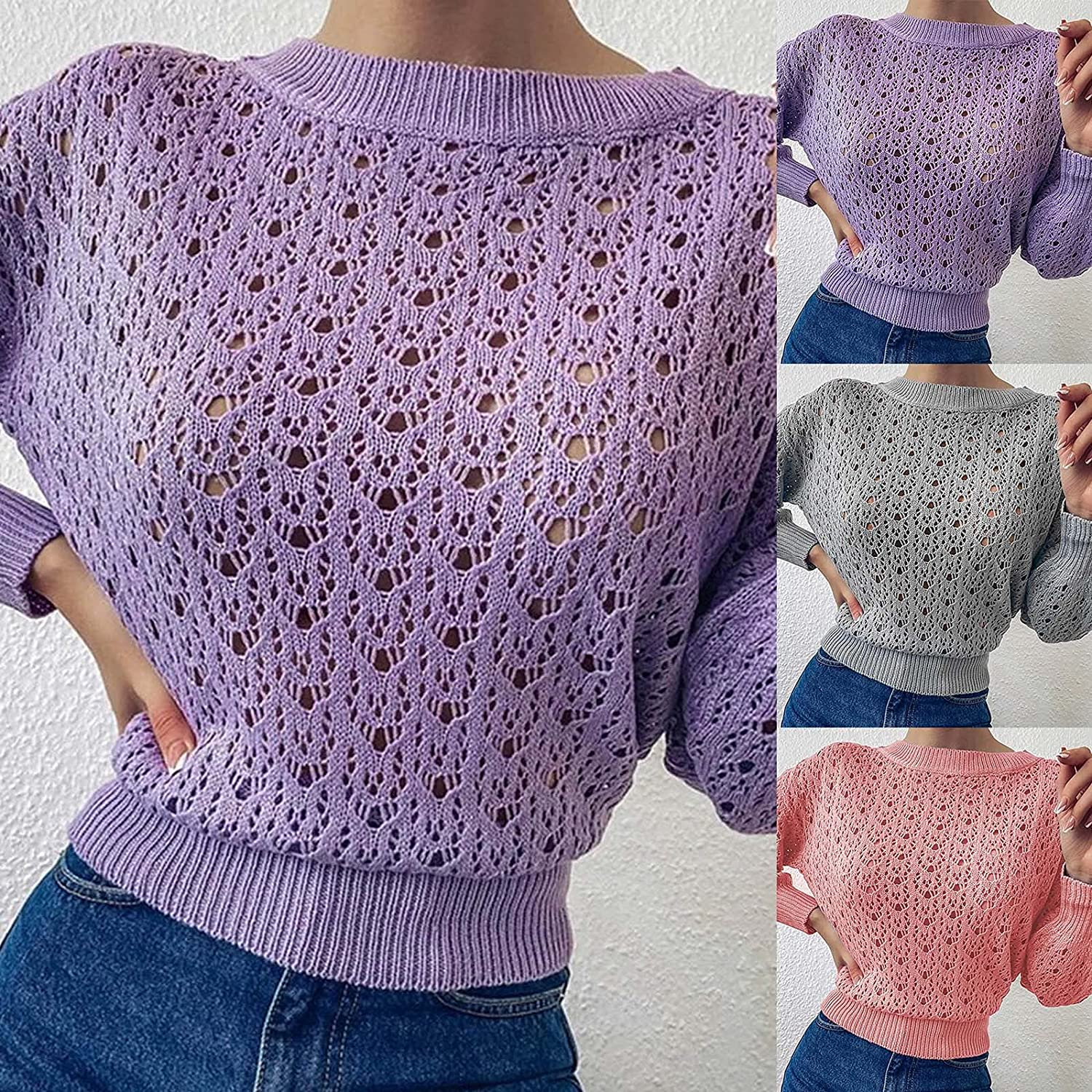 Women's Slim Knitted Sweater Long Sleeve Crew Neck Ripped Pullover Sweaters Crop Top Knit Jumper Tops Sexy Hollow Out