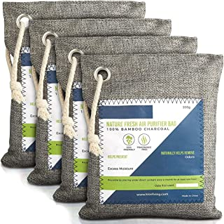 Nature Fresh luchtreiniger, zak, geactiveerde bamboehoutskool, geurverwijderaar voor thuis, actieve koolstoffilter, kastde...