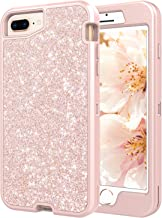 Coolwee Rugged Shockproof iPhone 8 Plus case,Heavy Duty iPhone 7 PLUS/6S Plus Case for Girls Women Glitter with Rose Gold Bumper Hybrid Hard Shell for Apple iPhone 6 Plus iPhone 7 Plus 8 Plus Sparkle