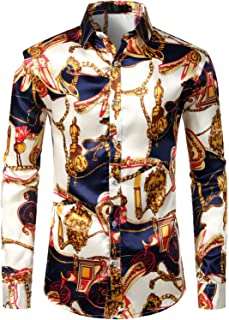 ZEROYAA Men's Luxury Printed Silk Like Satin Button Down Dress Shirt for Party Prom