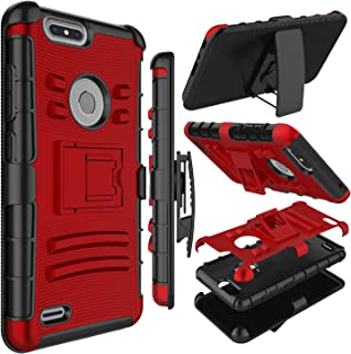 Zenic Compatible with ZTE Blade Z Max Case, ZTE ZMax Pro 2 Case, Heavy Duty Shockproof Full-Body Protective Hybrid Case with Swivel Belt Clip and Kickstand Compatible with ZTE Sequoia/Z982 (Red)