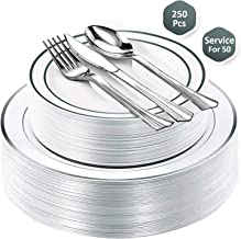 Fancy Disposable Plastic Plates with Cutlery 250 Piece Combo| 50x 10.25