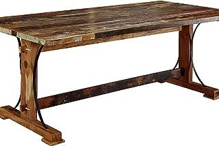 MASSIVMOEBEL24.DE Table à Manger 140x90cm - Bois Massif recyclé Multicolore laqué - Inspiration Ethnique - Nature of Spiri...