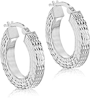 Tuscany 纯银图案方形管环状耳环