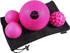 MANYTONEZ Deep Tissue Massage Ball Set - Includes 5 inch Weighted (1.3 lbs) Medicine Massage Ball, Peanut Massage Ball, Spiky Massage Ball - for Physical Therapy, Trigger Point, Myofascial Release