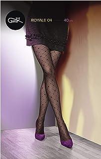 Gatta transparente Strumpfhose mit Muster 40den 07T-04 - Strumpfhose mit Netzmuster kariert matt schwarz - Designed & Made in EU