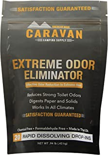 Caravan Extreme Odor Eliminator - RV Black & Gray Holding Tank Treatment - hot Weather, Drop-in Odor/Stench Bomb, 20 pods | Controls Strong Toilet Odors in All climates | Chemical and Fragrance Free