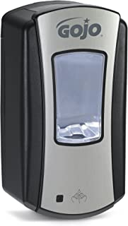 GOJO LTX-12 Foam Soap Touch-Free Dispenser, Chrome/Black Finish, Dispenser for 1200 mL Foam Soap GOJO LTX-12 Refill - 1919-01