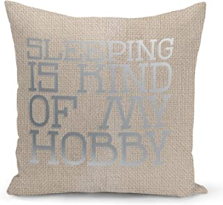 Sleeping is my hobby Beige Linen Pillow with Metalic Silver Foil Print Funny Theme Couch Pillows