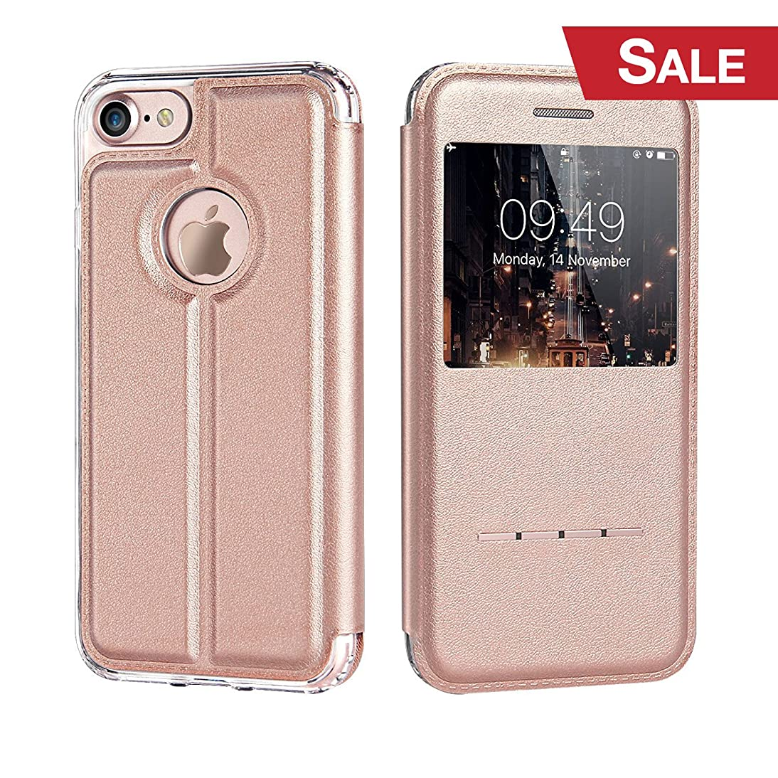 iPhone 8 Case, iVAPO iPhone 8 Cover with View Window Cover Leather Case with Stand and Metal Sensor iPhone Case for iPhone 8 iPhone 7 iPhone 6 4.7inch Rose Gold wuwt355696295445