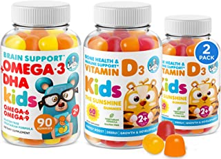 Omega 3 DHA Gummies and Vitamin D Gummies for Kids & Adults - No Fish Oil and Gluten Free Immune Health Plant Based Fiber Chewable