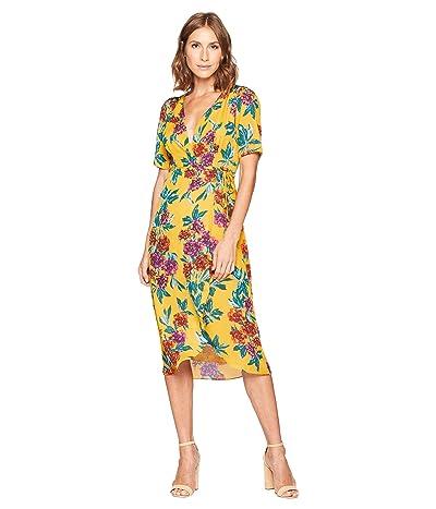 American Rose Jade Floral Wrap Dress (Mustard) Women