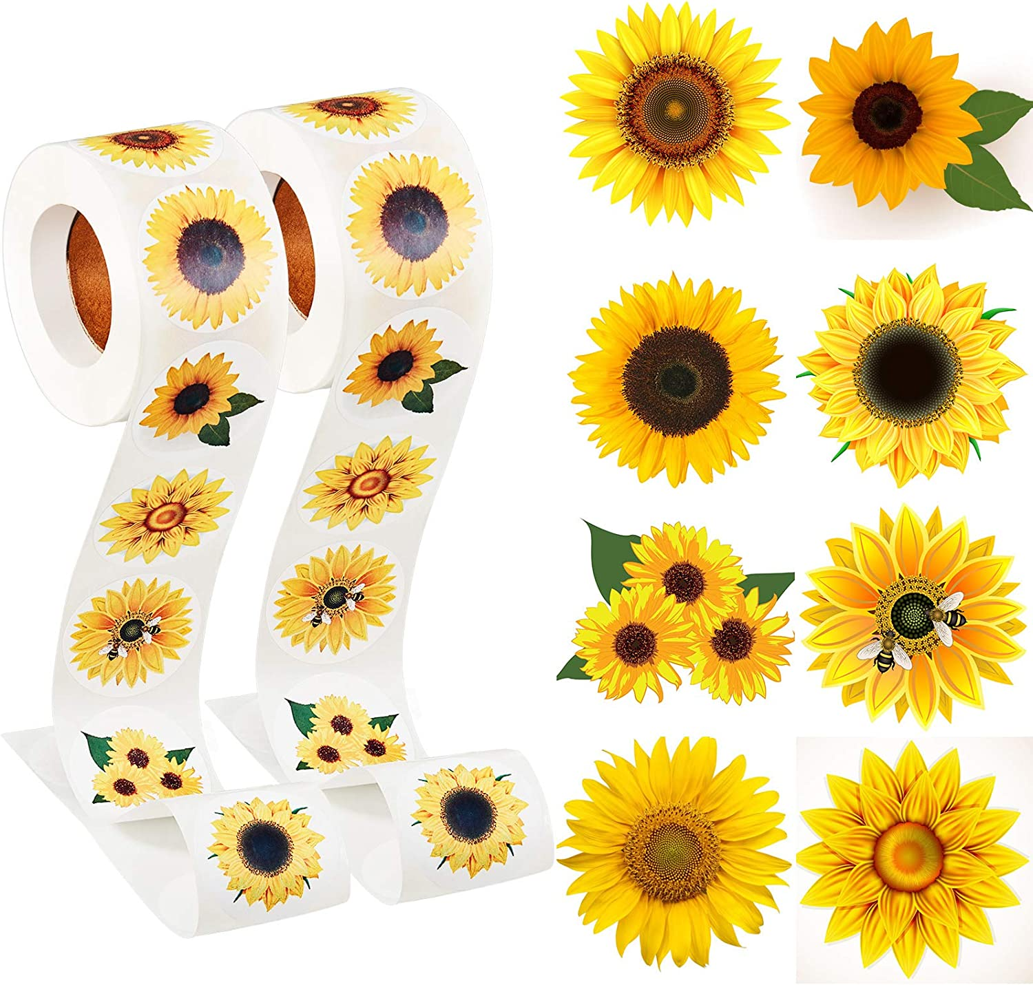 Sunflower Stickers, 1.5 Inch Sunflower Labels with 8 Sunflower Patterns Sunflower Stickers Rolls Self Adhesive Seals for Christmas Thanksgiving Party Decor Scrapbooking Cards Envelopes (1000 Pieces): Kitchen & Dining
