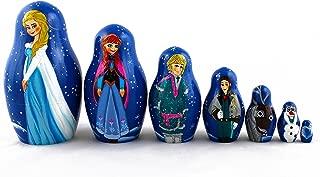 Matryoshka Russian Nesting Doll Babushka Beautiful Cartoon Characters Frozen Elsa Set 7 Pieces Pcs Wooden Hand Painted Souvenir Craft Gift by MATRYOSHKA&HANDICRAFT