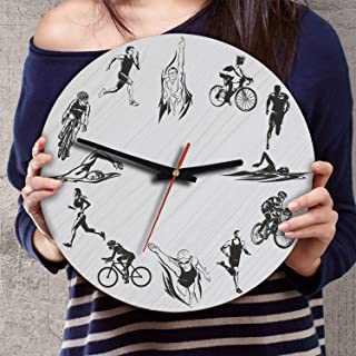 VTH Global 12 Inch Silent Battery Operated Triathlon Wood Wall Clocks Gifts for Men Women Triathletes Team Players Fans Coaches Lovers